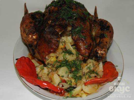 Курица в духовке с квашеной капустой рецепт