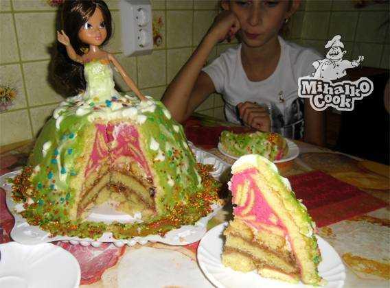 Торта с куклой пошаговый